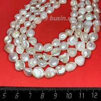 Натуральный жемчуг барочный, мятый неправильной формы, размер от 8*8 мм до 9,5*10 мм, цвет белый с серым оттенком, с перламутровыми переливами, около 37 см/нить 062672 - 99 бусин