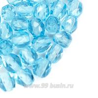 Бусины стеклянные граненые 4 мм Винтаж Чехия цвет небесно-голубой 30 шт/упаковка 062678 - 99 бусин
