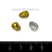 Стразы стеклянные пришивные в латунных цапах Капелька 10*7 мм цвет желтое золото, 1 штука 062684 - 99 бусин