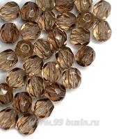 Бусины стеклянные граненые 4 мм Винтаж Чехия цвет зерно какао 30 шт/упаковка 062696 - 99 бусин