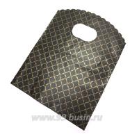 Пакет подарочный Ромбы 17,5*13 см, цвет чёрно-коричневый/медный, отверстие овал, резной верх, материал полиэтилен, 10 штук/упаковка 062702 - 99 бусин
