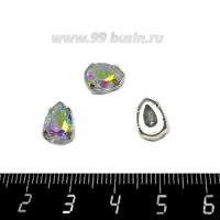 Стразы стеклянные пришивные в латунных цапах Капелька 10*7 мм цвет Crystal АВ, 1 штука 062713 - 99 бусин