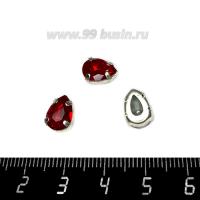 Стразы стеклянные пришивные в латунных цапах Капелька 10*7 мм, цвет насыщенный красный, 1 штука 062717 - 99 бусин