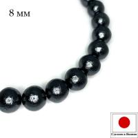Хлопковый жемчуг 8 мм цвет Black/чёрный 1 штука Япония 062758 - 99 бусин