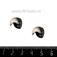 Декоративный элемент Клюв Попугай чёрно-белый (левый), пришивной, из полимерной глины, размер около 13-15*11-12 мм, ручная работа, 1 штука 062789 - 99 бусин