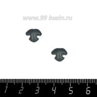 Декоративный элемент Нос Кошки Малый, пришивной, из полимерной глины, цвет тёмно-серый, размер около 8-9*10-11 мм, ручная работа, 1 штука 062791 - 99 бусин