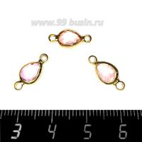 """Коннектор Премиум Капелька огранка """"груша"""" 14,5*7 мм ювелирное стекло, цвет нежно-розовый/позолота 1 штука 062793 - 99 бусин"""