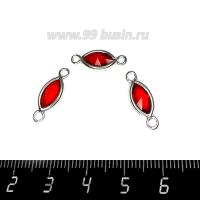 Коннектор Премиум Лодочка Малая 18*7 мм ювелирное стекло, красный/платина 1 штука 062812 - 99 бусин
