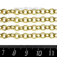 Цепочка 6*1,7 мм, круглые незапаянные звенья, нержавеющая сталь, покрытие оксид титана, цвет золотой, 1 метр/упаковка 062816 - 99 бусин