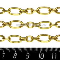 Цепочка Комбинированные звенья, 2 размера 8*1,5 мм 18*1,5 мм, нержавеющая сталь, покрытие оксид титана, цвет золотой, 1 метр/упаковка 062817 - 99 бусин