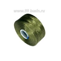 Нить Superlon (S-lon) AA цвет Olive, толщина 0,09 мм, катушка 68,58 метра 062820 - 99 бусин