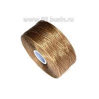 Нить Superlon (S-lon) D цвет Light Copper (молочный шоколад), толщина 0,11 мм, катушка 71.3 метров 062823 - 99 бусин