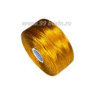 Нить Superlon (S-lon) D цвет Gold (рыжее золото), толщина 0,11 мм, катушка 71.3 метров 062824 - 99 бусин