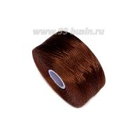 Нить Superlon (S-lon) D цвет Brown (брауни), толщина 0,11 мм, катушка 71.3 метров 062825 - 99 бусин