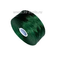 Нить Superlon (S-lon) D цвет Dark Green (тёмно-зелёный), толщина 0,11 мм, катушка 71.3 метров 062826 - 99 бусин