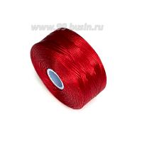 Нить Superlon (S-lon) D цвет Red (ягодный красный), толщина 0,11 мм, катушка 71.3 метров 062829 - 99 бусин