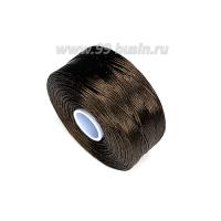 Нить Superlon (S-lon) D цвет Chocolate (горький шоколад), толщина 0,11 мм, катушка 71.3 метров 062832 - 99 бусин