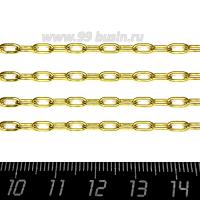Цепочка Вытянутые овальные звенья, размер 6*4*0,5 мм, нержавеющая сталь, покрытие оксид титана, цвет золотой, 1 метр/упаковка 062833 - 99 бусин