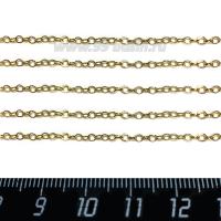 """Цепочка тонкая """"Колечки"""" нержавеющая сталь, запаянные звенья диаметр 2 мм, толщина звена 0,3 мм, цвет золотой, 1 метр/упаковка 062835 - 99 бусин"""
