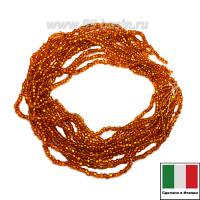 Бисер Винтажный круглый 10 размер (2,2-2,4 мм) на нити, цвет ярко-оранжевый огонек, около 12 грамм/упаковка (3 нити по 50 см), Италия 062841 - 99 бусин