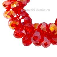 Бусина хрустальная на нити 6*4 мм, цвет ярко-красный/радужный (365) около 90 штук/нить 062844 - 99 бусин