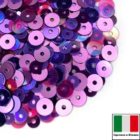 Микс пайеток БАРЛЕТТА (Плоские 3 мм 5234, OR.07, 4 мм 132, 5161, 506W) сиреневый, фиолетовый, розовый,  Италия 3 грамма 062848 - 99 бусин