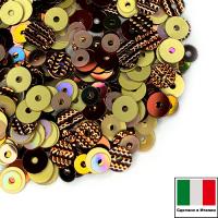 Микс пайеток ИСТРАНА (Плоские 3 мм OR.3, M.I.7, 4 мм 8171, 216W, гофрированные 4 мм G.10) золотой, коричневый, радужный,  Италия 3 грамма 062850 - 99 бусин