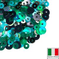Микс пайеток ВАРЕЗЕ (Плоские 3 мм M.39, OR.11, 6044, 4 мм 9131, 7400) зелёный, бирюзовый, земляной  Италия 3 грамма 062852 - 99 бусин