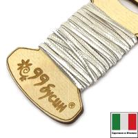 """Шелковый плоский шнур """"DARRYN"""", 2 мм, цвет серый перламутр, с хлопковой основой, на шпуле, 3 метра/шпуля, Италия 062881 - 99 бусин"""