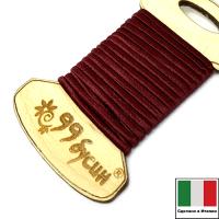 """Шелковый плоский шнур """"DARRYN"""", 2 мм, цвет бордо, с хлопковой основой, на шпуле, 3 метра/шпуля, Италия 062884 - 99 бусин"""