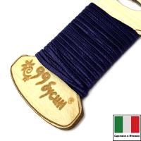 """Шелковый плоский шнур """"DARRYN"""", 2 мм, цвет синий полуночный, с хлопковой основой, на шпуле, 3 метра/шпуля, Италия 062885 - 99 бусин"""