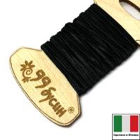 """Шелковый плоский шнур """"DARRYN"""", 2 мм, цвет чёрный, с хлопковой основой, на шпуле, 3 метра/шпуля, Италия 062886 - 99 бусин"""