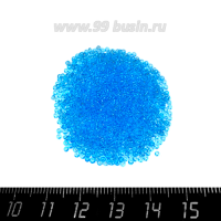 Бисер Чехия прозрачный, размер 13, арт. 60000  голубые тона, 5 гр. 062892 - 99 бусин