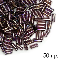 Стеклярус гладкий, черничный перламутр, размер 2 (5*2 мм) арт. 27019, УПАКОВКА 50 гр, Чехия 062901 - 99 бусин