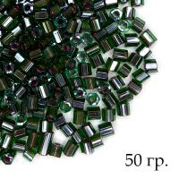 Рубка Чехия PRECIOSA гранёный, Прозрачные тёмно-зелёные тона, красное отверстие, размер 9 (около 3 мм), арт. 51128, УПАКОВКА 50 гр. 062909 - 99 бусин
