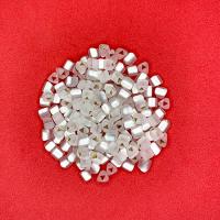 Рубка трёхгранная Чехия Preciosa размер 3,5 мм светло-серебристый матовый огонёк, трёхгранное отверстие, 78102, 10 гр. 062926 - 99 бусин