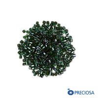 Рубка Чехия PRECIOSA гранёный, Прозрачные тёмно-зелёные тона, красное отверстие, размер 9 (около 3 мм), арт. 51128, 10 гр. 062949 - 99 бусин