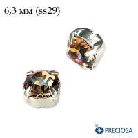 Шатоны (стразы) PRECIOSA MAXIMA пришивные хрустальные, размер ss-29 (6,3 мм), цвет Smoked Topaz/silver 1штука, Чехия 062995 - 99 бусин