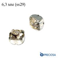 Шатоны (стразы) PRECIOSA MAXIMA пришивные хрустальные, размер ss-29 (6,3 мм), цвет Light Gold Quartz/silver 1штука, Чехия 062997 - 99 бусин