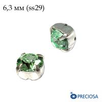 Шатоны (стразы) PRECIOSA MAXIMA пришивные хрустальные, размер ss-29 (6,3 мм), цвет Chrysolite/silver 1штука, Чехия 062999 - 99 бусин