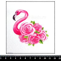 Шаблон для броши Фламинго с розами, фетр Корея Премиум, толщина 1,25 мм, размер 10*10 см 063005 - 99 бусин