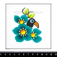 Шаблон для броши Тукан в цветах, фетр Корея Премиум, толщина 1,25 мм, размер 10*10 см 063008 - 99 бусин