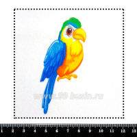Шаблон для броши Попугайчик 467, фетр Корея Премиум, толщина 1,25 мм, размер 10*10 см 063010 - 99 бусин