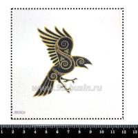 Шаблон для броши Ворон в орнаменте, фетр Корея Премиум, толщина 1,25 мм, размер 10*10 см 063020 - 99 бусин