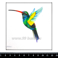 Шаблон для броши Колибри разноцветная, фетр Корея Премиум, толщина 1,25 мм, размер 10*10 см 063024 - 99 бусин