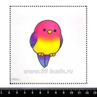 Шаблон для броши Попугайчик мультяшный розовый, фетр Корея Премиум, толщина 1,25 мм, размер 10*10 см 063027 - 99 бусин