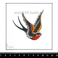 Шаблон для броши Графическая летящая красная синица, фетр Корея Премиум, толщина 1,25 мм, размер 10*10 см 063029 - 99 бусин