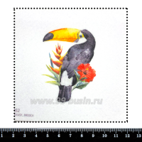 Шаблон для броши Акварельный тукан с цветком, фетр Корея Премиум, толщина 1,25 мм, размер 10*10 см 063030 - 99 бусин