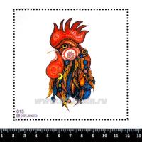 Шаблон для броши Петух с украшениями, фетр Корея Премиум, толщина 1,25 мм, размер 10*10 см 063033 - 99 бусин