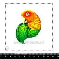 Шаблон для броши Попугай оранжевый/жёлтый/зелёный, фетр Корея Премиум, толщина 1,25 мм, размер 10*10 см 063046 - 99 бусин